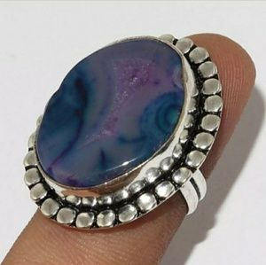 New Agate Geode Slice Silver Ring. Size 7.50